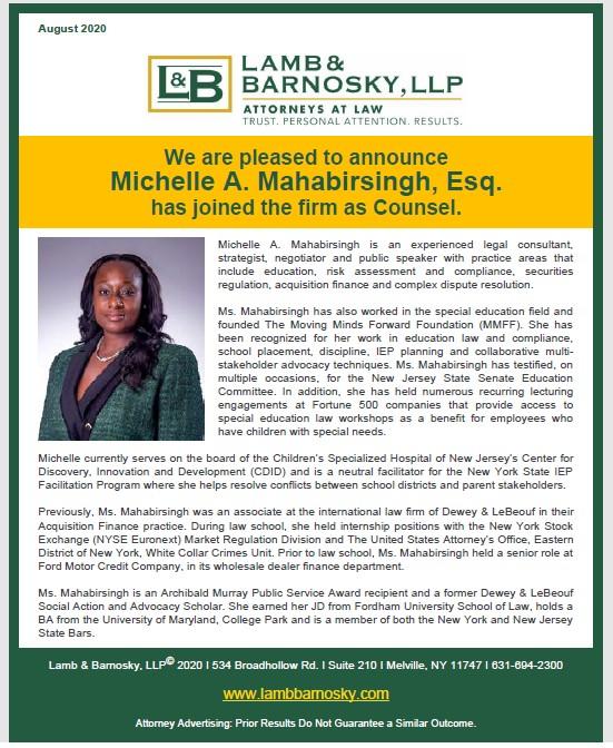 Michelle A. Mahabirsingh, Esq. announcement as counsel
